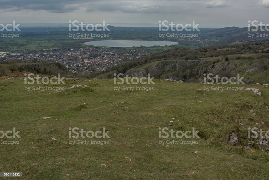 view from the top of cheddar gorge stock photo