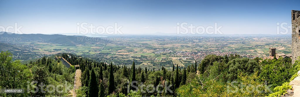 View from the top of Cortona with Lake Trasimeno stock photo