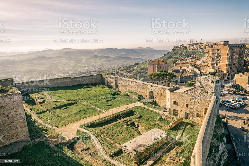View from the top of Enna Castle stock photo