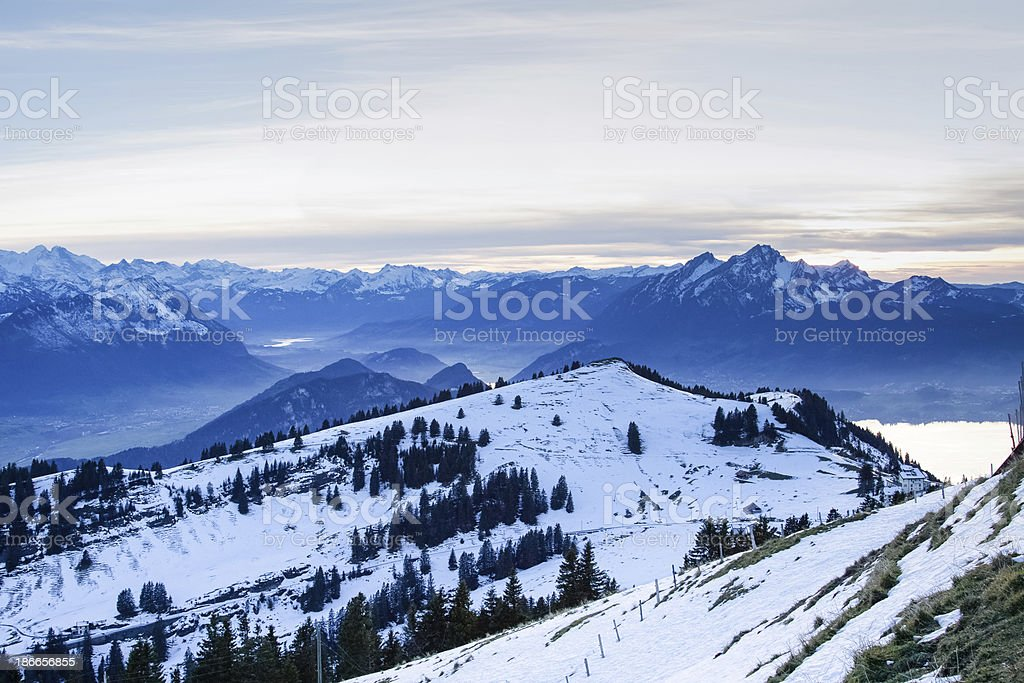 View from the top of Mt. Rigi, Switzerland, winter evening royalty-free stock photo
