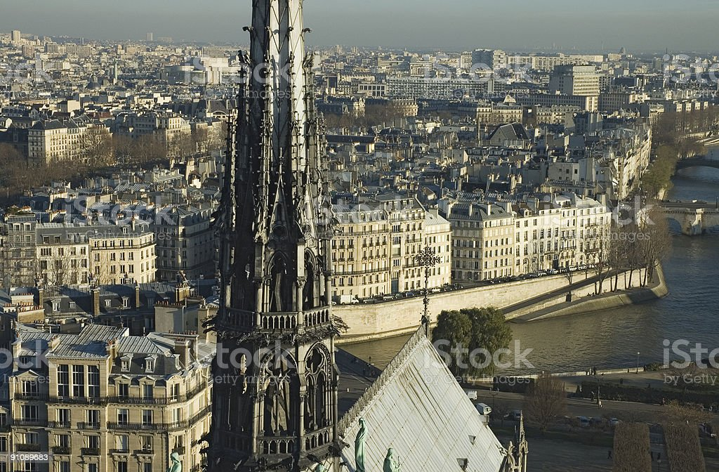 View from the top of Notre Dame, Paris royalty-free stock photo