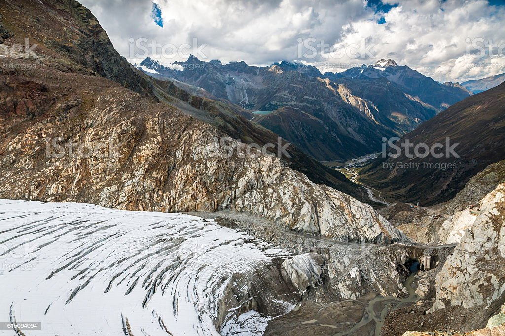 View from the top of Pitztal glacier stock photo