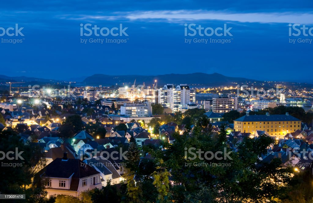 View from the top of Stavanger at night stock photo