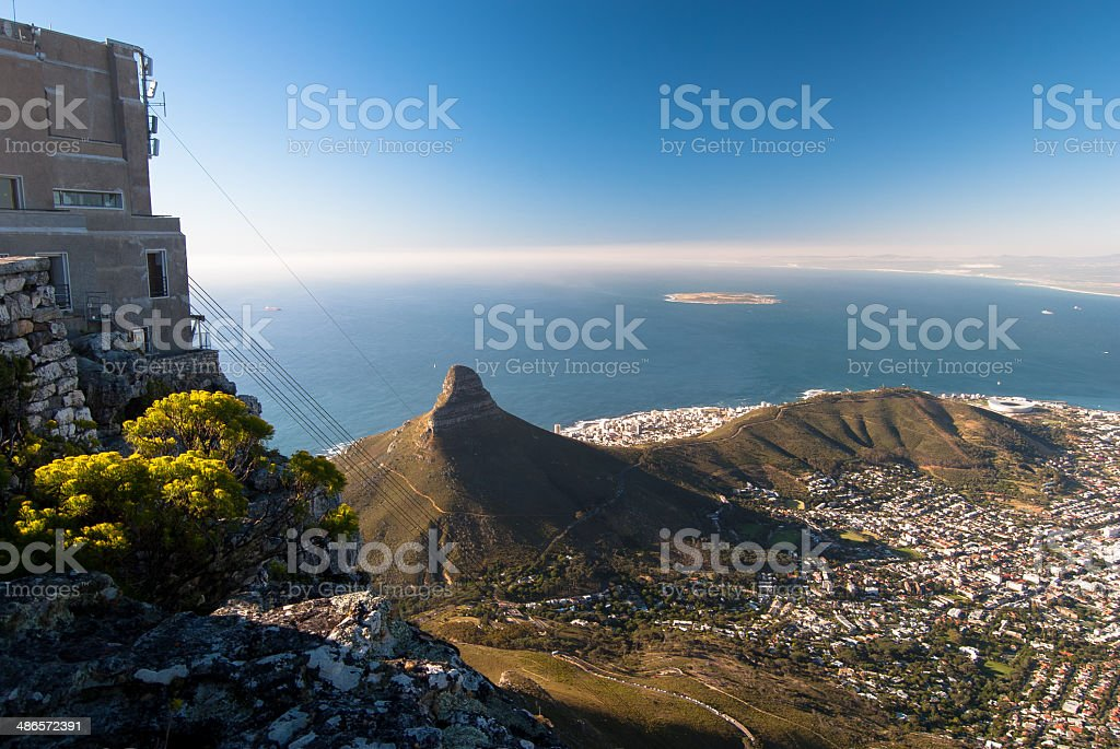 View from the top of Table Mountain, Cape Town. stock photo
