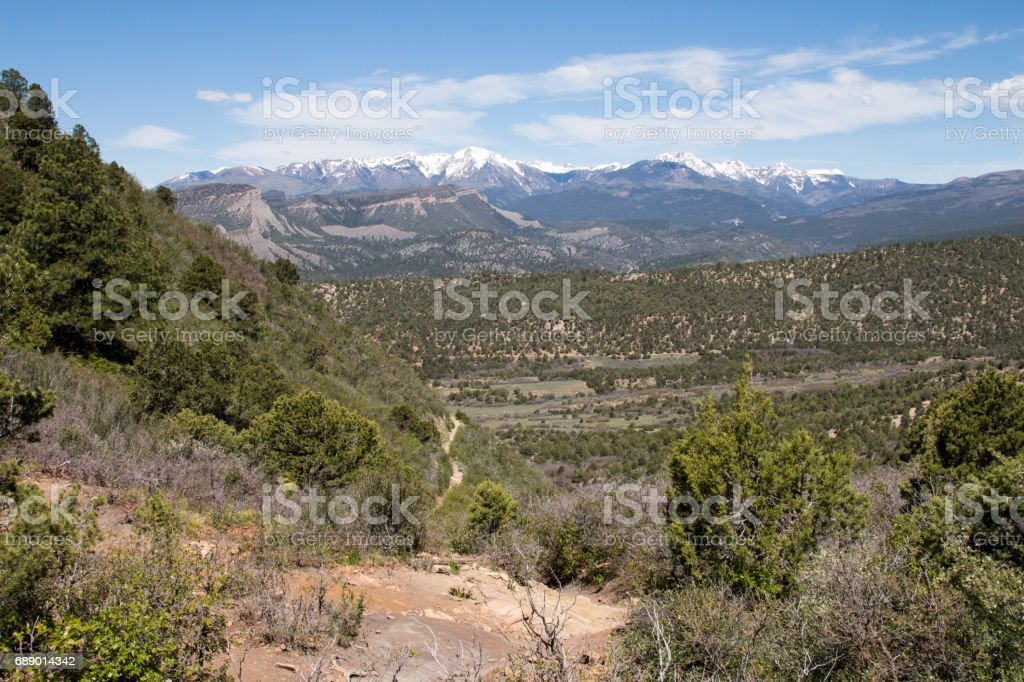 View from the top of Telegraph hill in Durango, Colorado stock photo