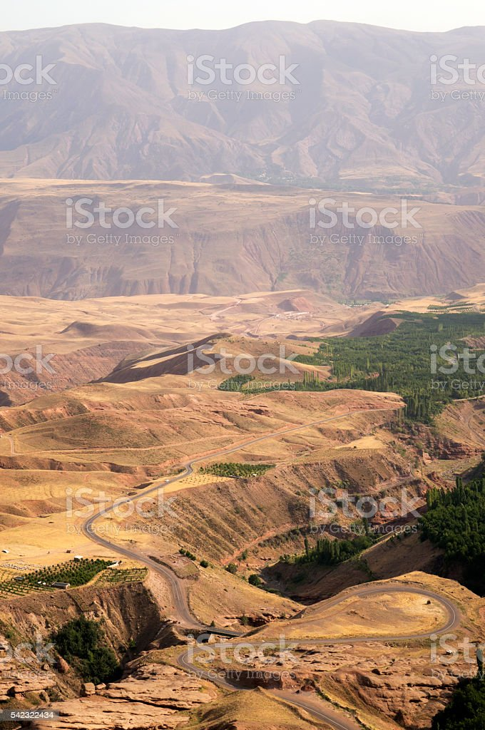 View from the top of the Alamut fortress, Iran stock photo