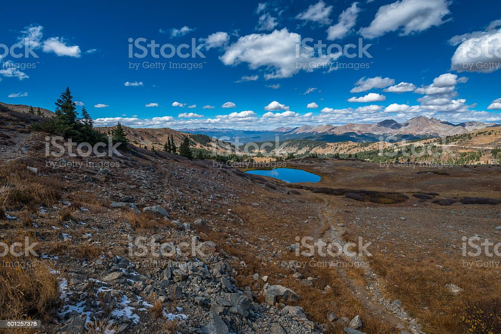 View from the top of the Cottonwood Pass Colorado stock photo