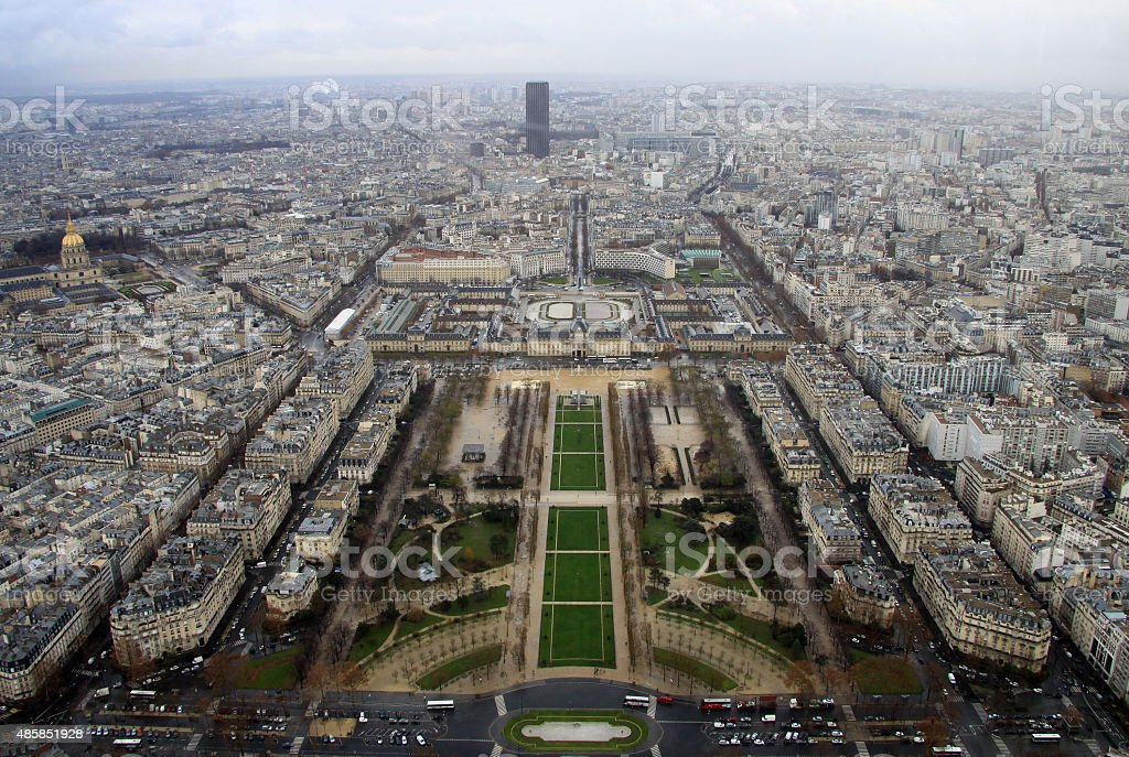 View from the top of the Eiffel Tower,  Paris, France stock photo