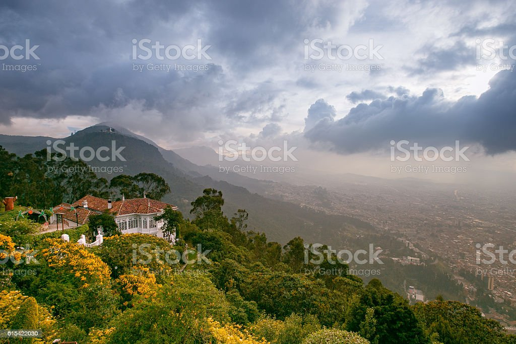 view from the top of the mountain, Monserrat mountain, colombia stock photo