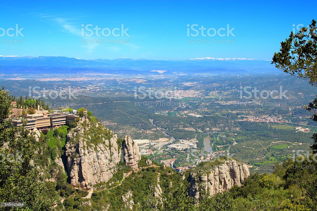 View from the top of the mountain of Montserrat. stock photo