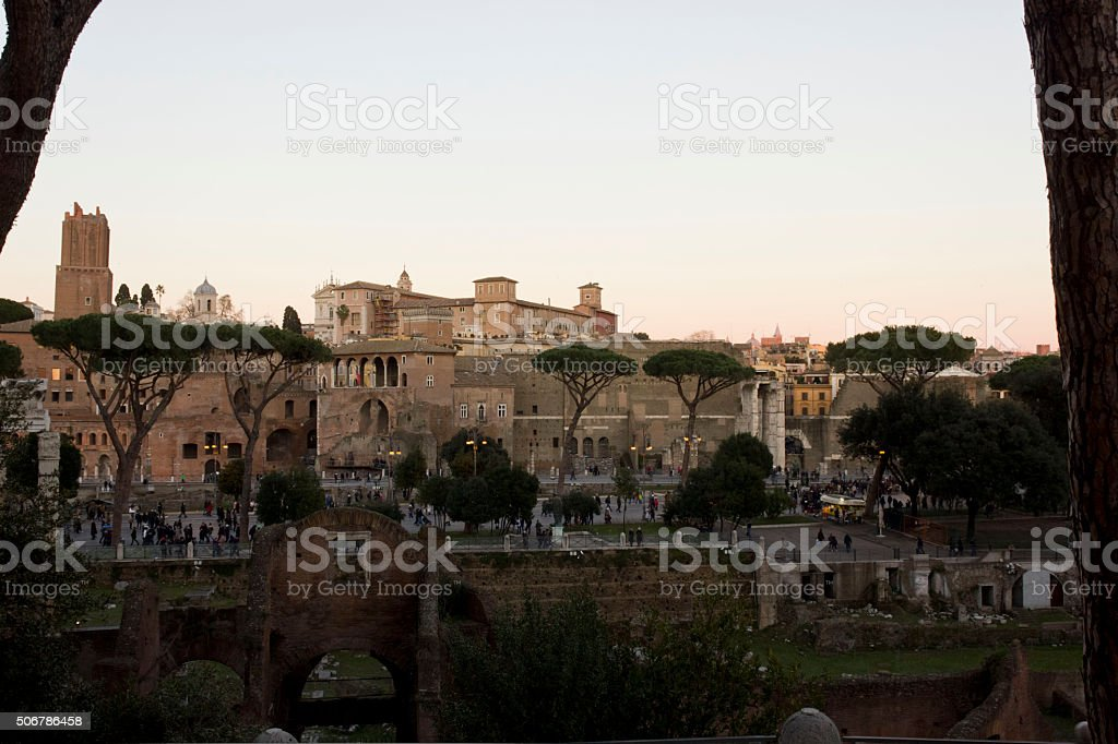 View from the top of the Roman Forum stock photo