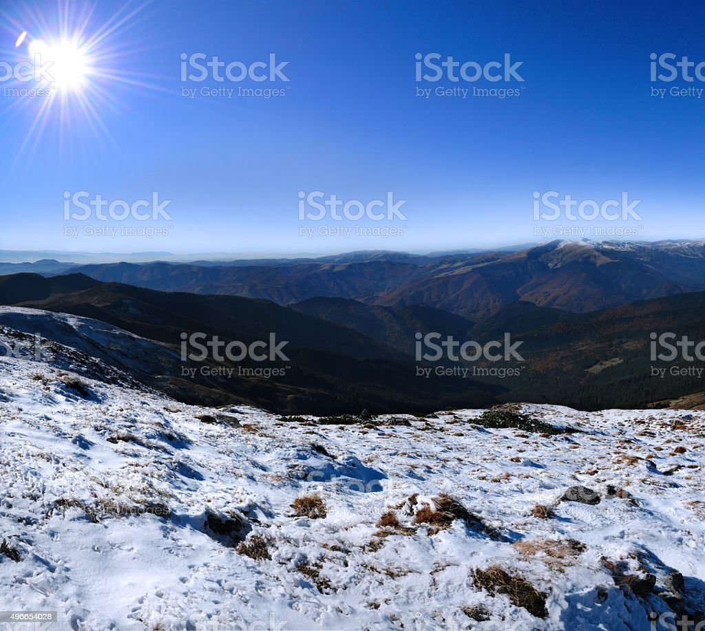 View from the top to Petros peak stock photo