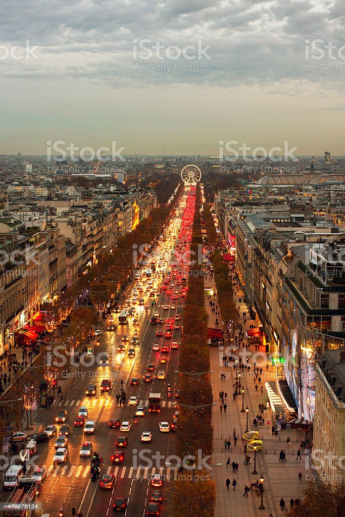 View from the Triumphe arc in Paris. stock photo