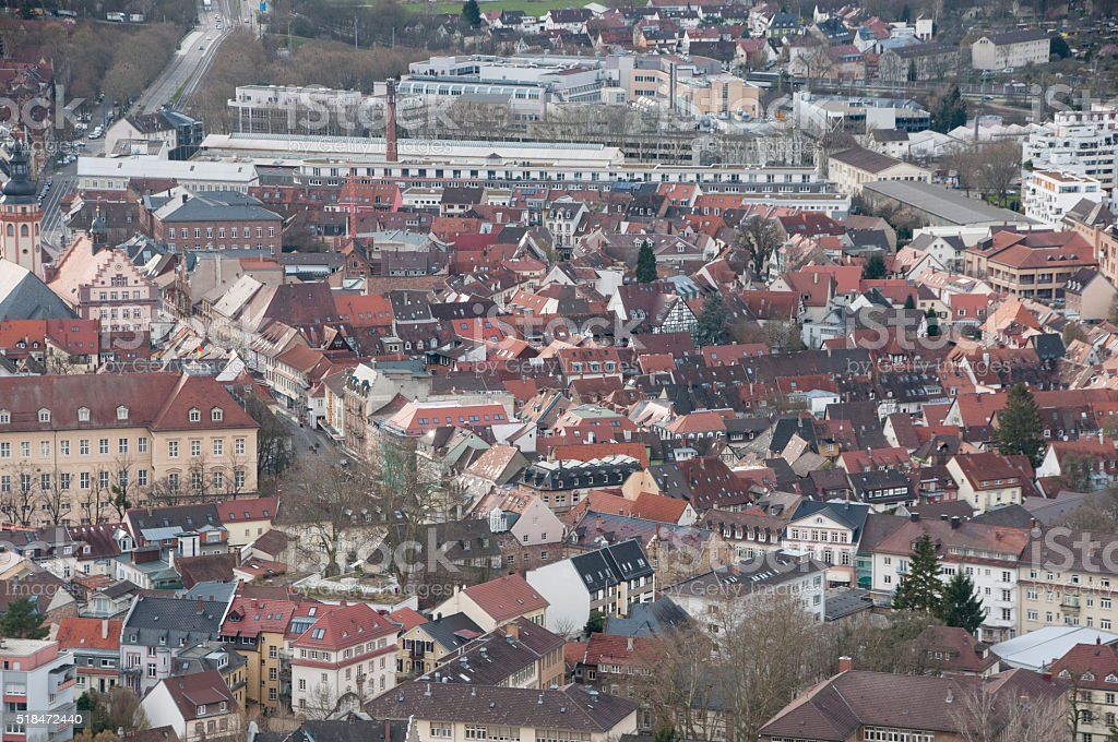 View from the Turmberg in Karlsruhe Durlach stock photo
