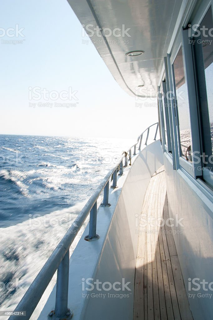 View from the  walking yacht on the sea stock photo