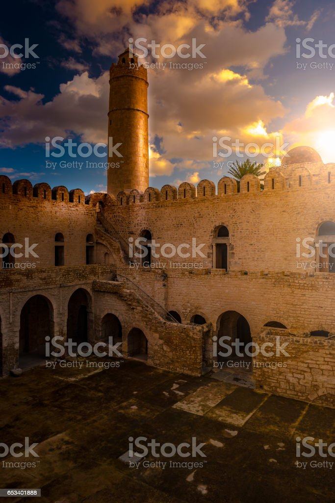 View from the walls of the fortress of Ribat of Sousse in Tunisia stock photo