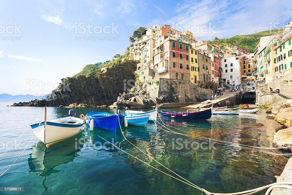 A view from the water of Riomaggiore, Cinque Terre stock photo