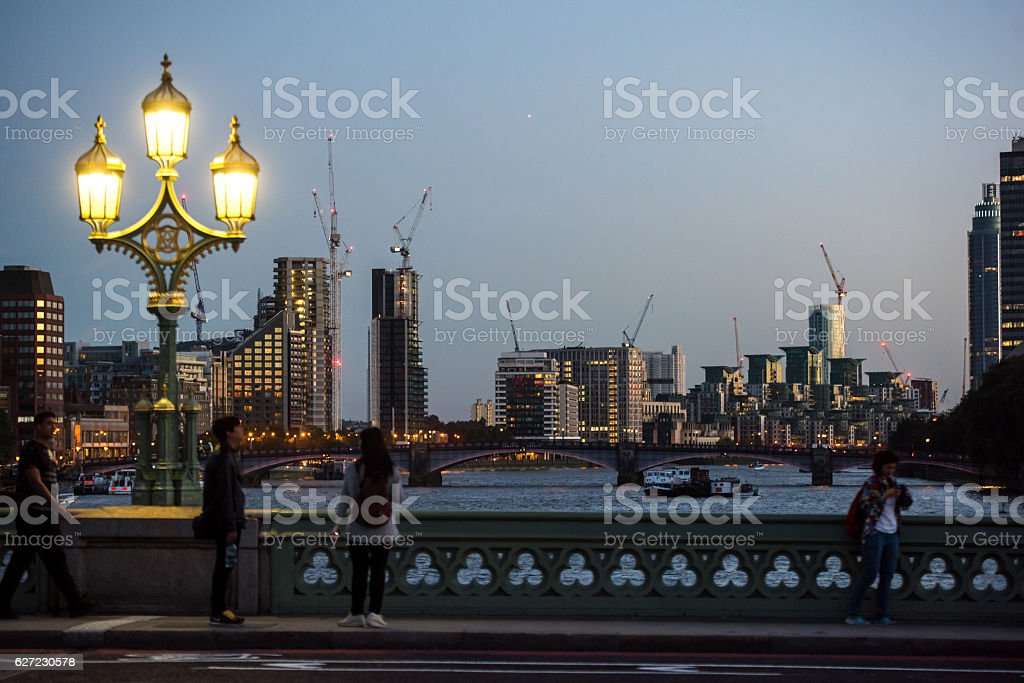 View from the Westminster Bridge over London stock photo