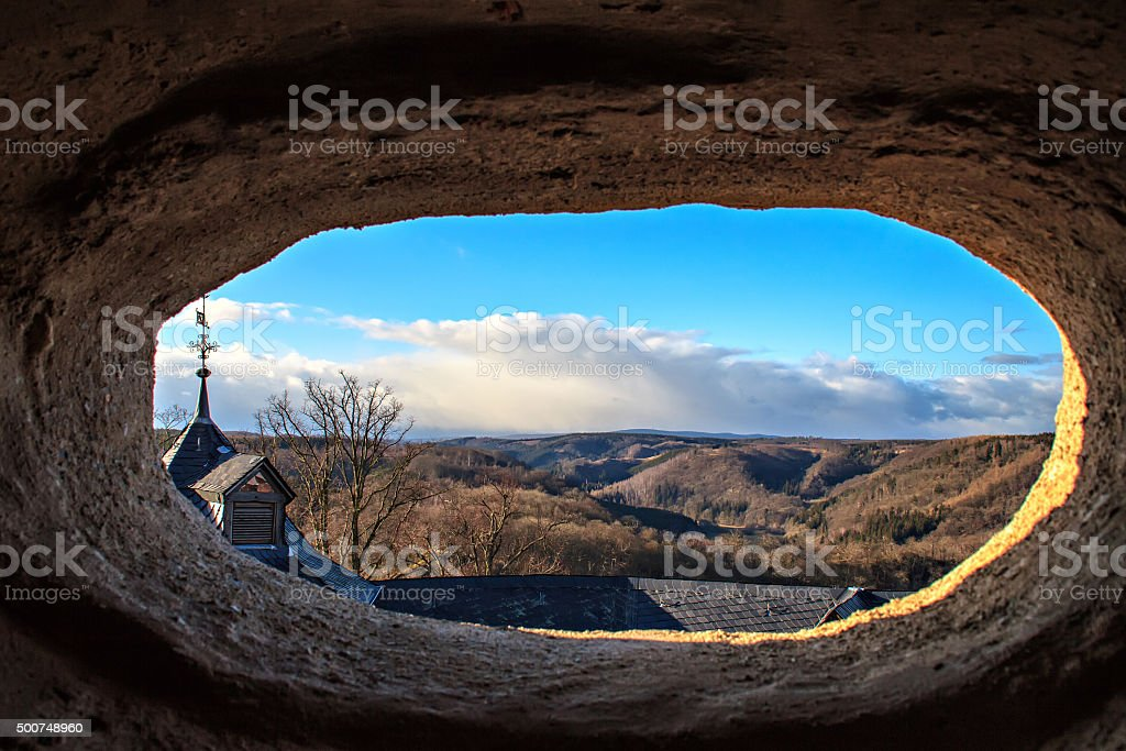 View from the window of Castle Falkenstein stock photo
