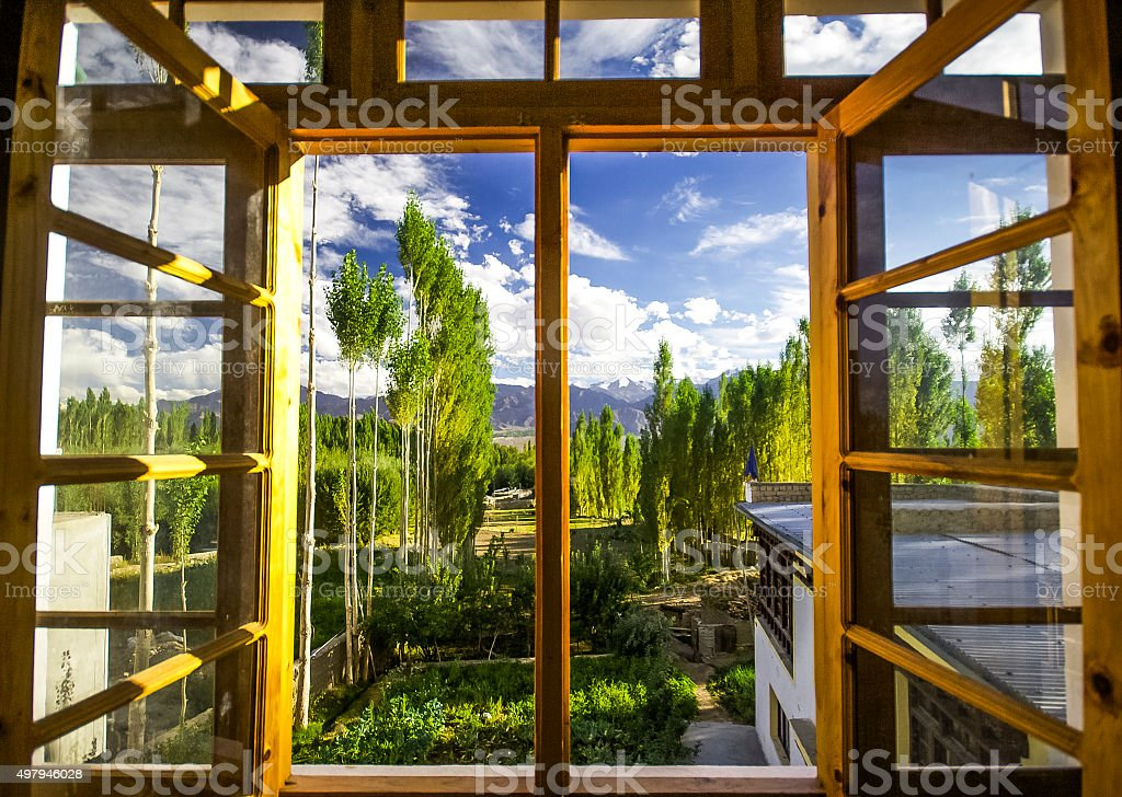 View from the window on the landscape. stock photo
