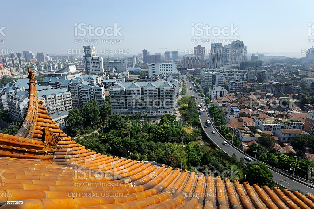 View from the Yellow Crane Tower in Wuhan, China stock photo