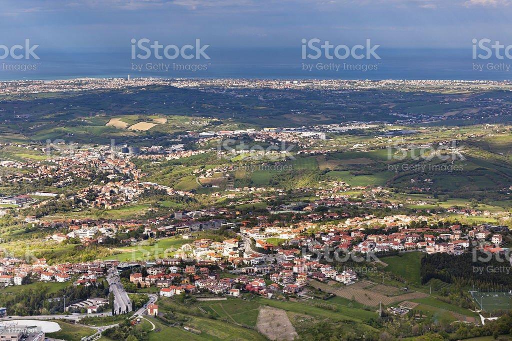 View from Titano mountain, San Marino at neighborhood royalty-free stock photo