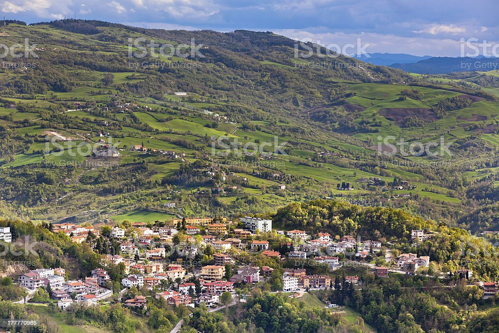 View from Titano mountain, San Marino at neighborhood royalty-free stock photo