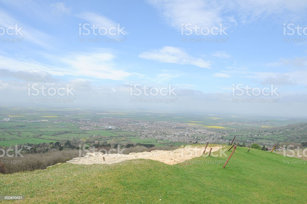 View from Top of Cleeve Common in the Cotswolds stock photo