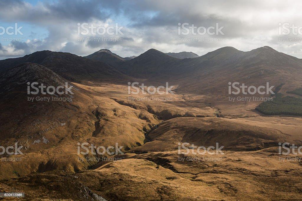 View from top of Diamond Hill, Connemara stock photo