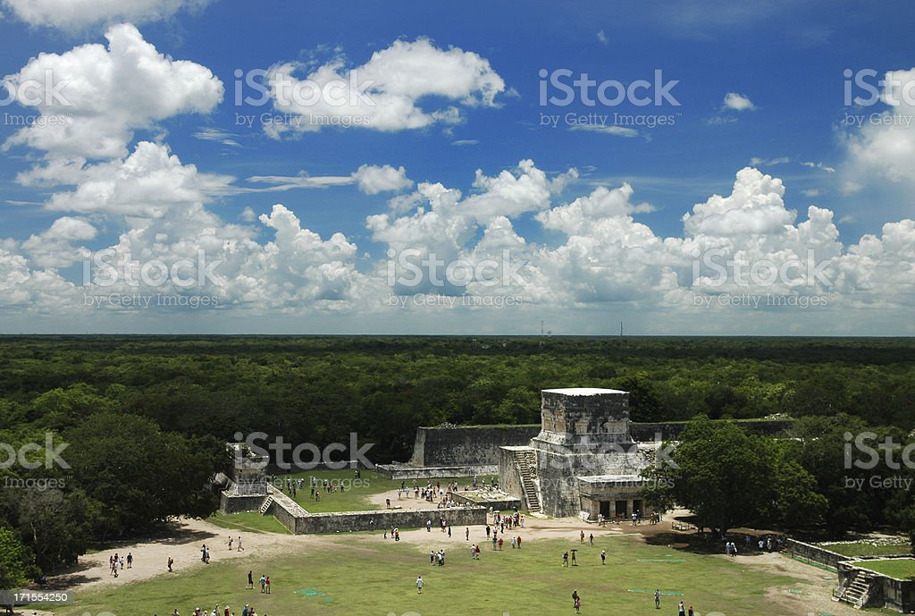 View From Top of Mexican Pyramid stock photo
