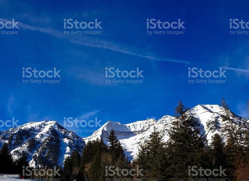 view from top of mountain in winter stock photo