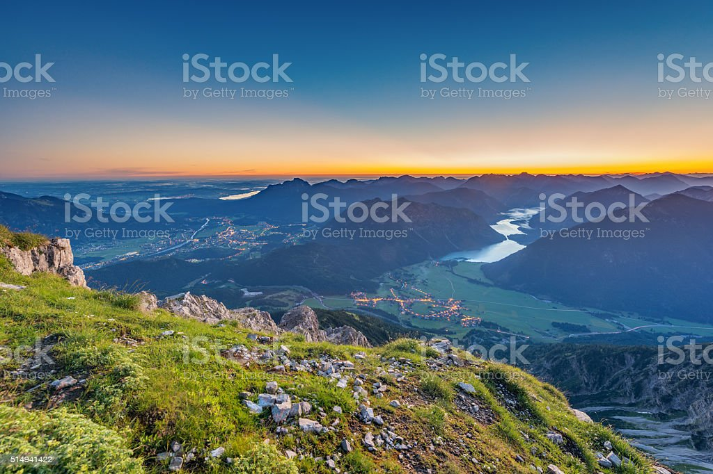 view from top of mountain to valley stock photo