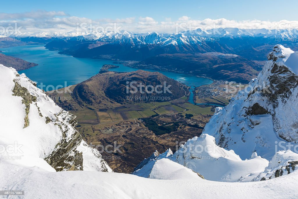 View from top of the Remarkbles Mountain stock photo