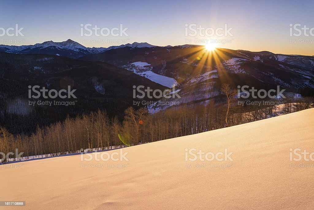 View from Top of Vail Winter Sunset royalty-free stock photo
