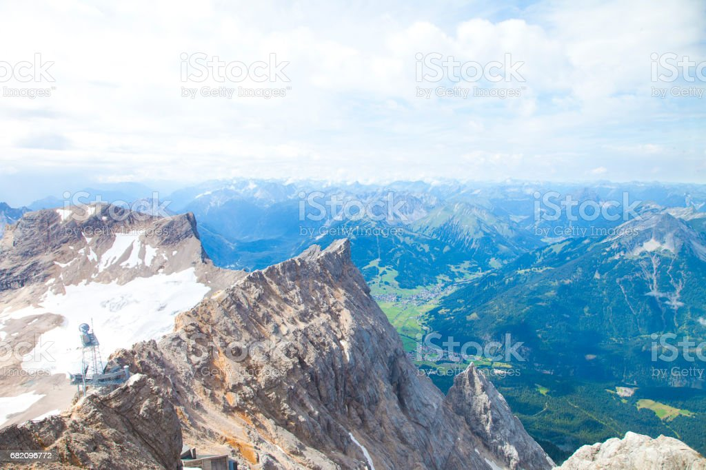 View from top of Zugspitze Austria stock photo