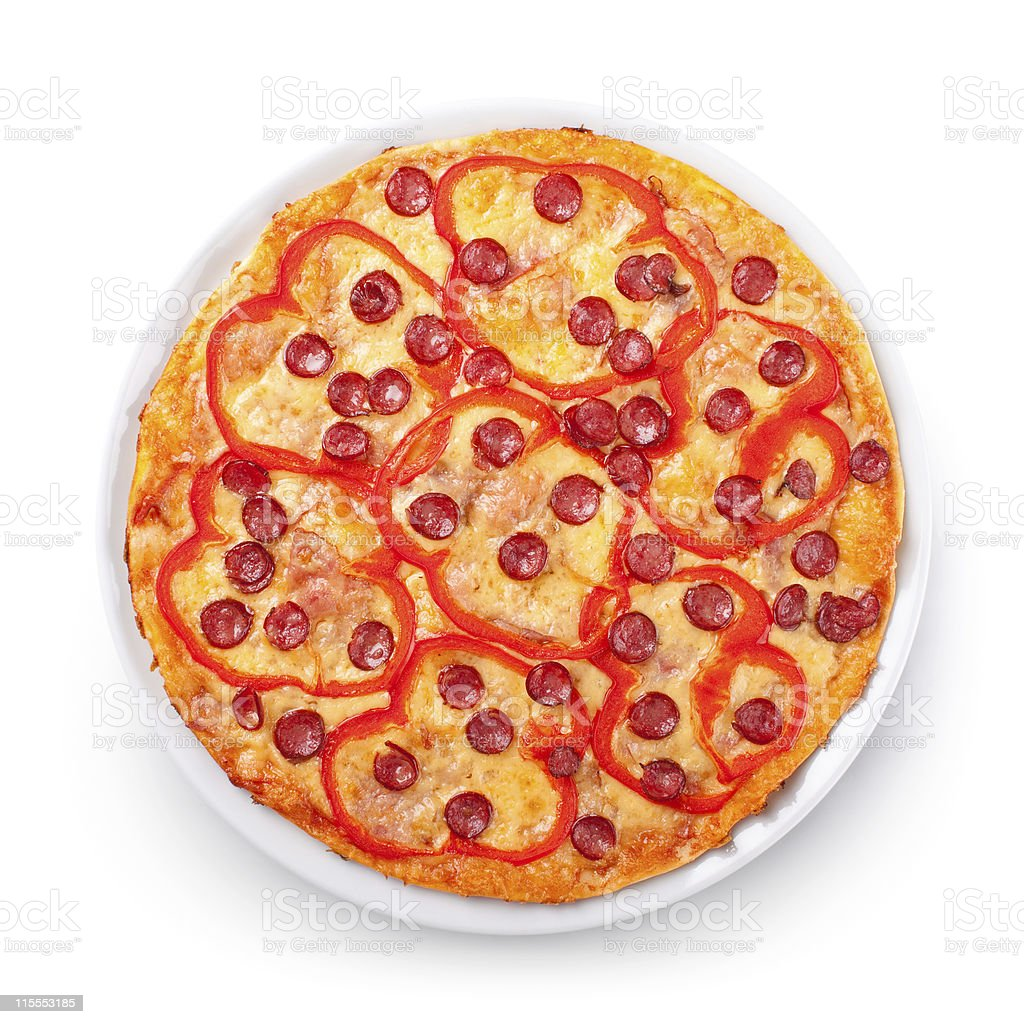View from top on pizza royalty-free stock photo