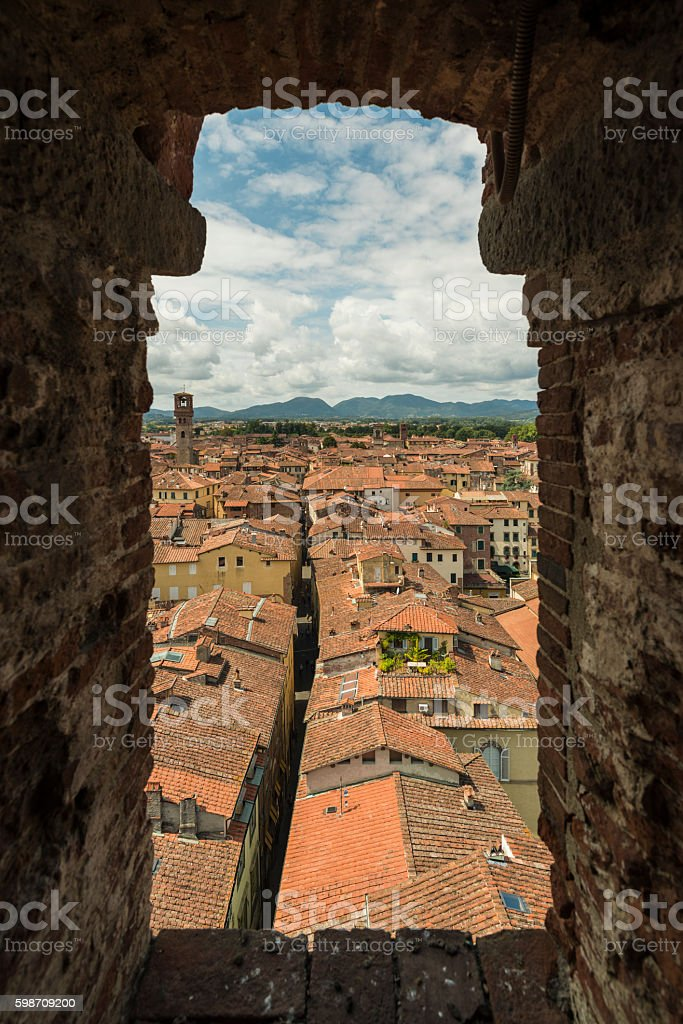 view from Torre dei Guinigi lucca Tuscany stock photo