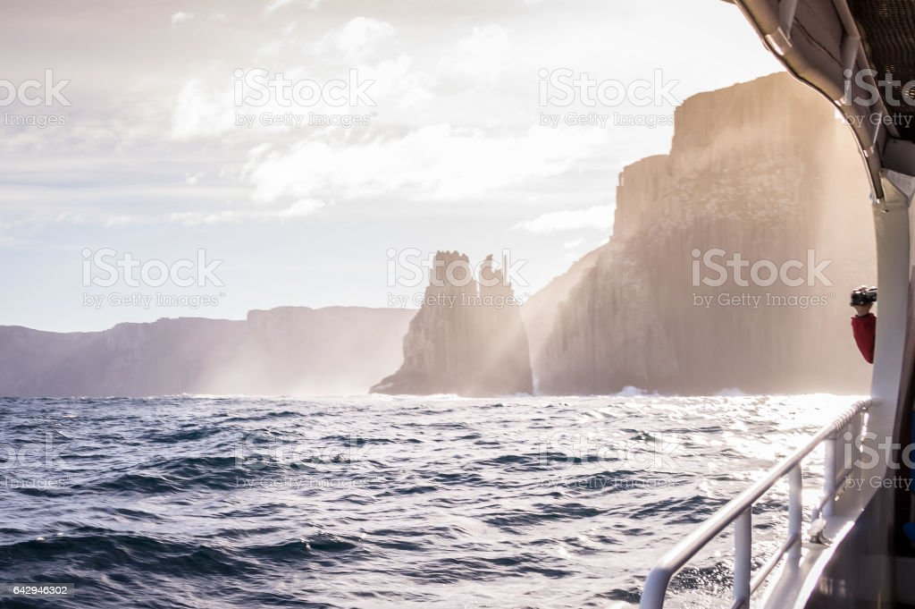 View from tour boat on Tasman Island, Tasmania, Australia stock photo