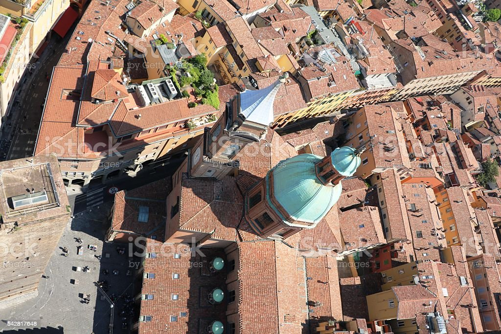 View from Tower Asinelli to Piazza Porta Ravegnana, Bologna Italy stock photo