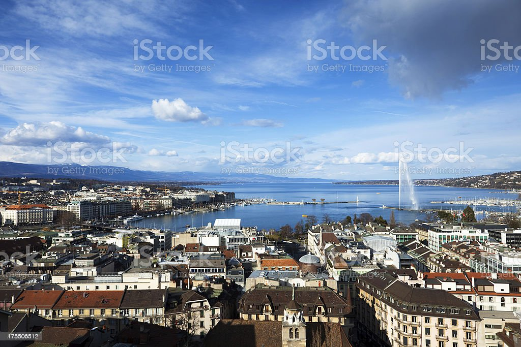 View from towers of the St. Pierre Cathedral. stock photo