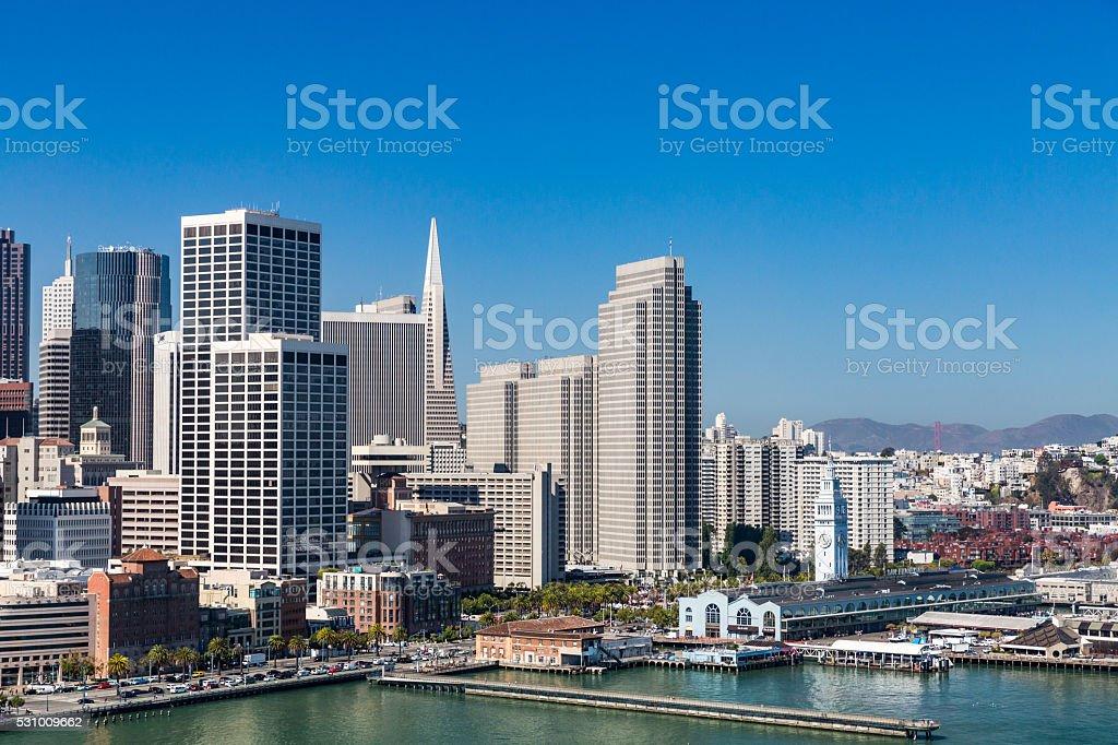 View from Treasure Island to San Francisco stock photo