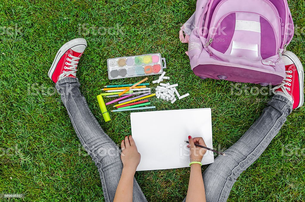 view from up on school supplies stock photo
