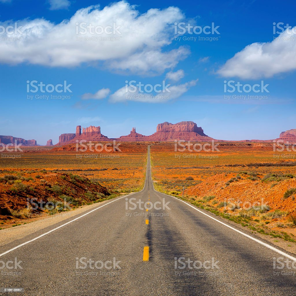 View from US 163 Scenic road to Monument Valley Utah stock photo