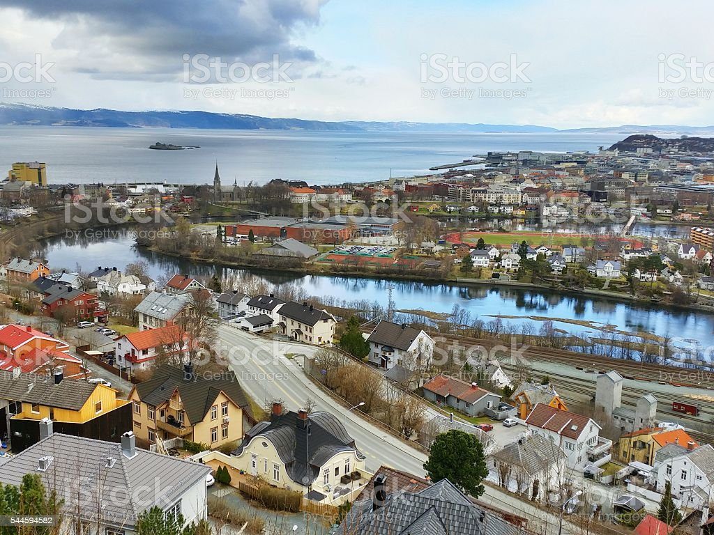 View from 'Utsikten' in Trondheim stock photo