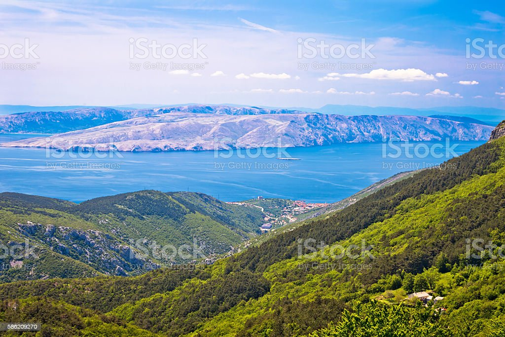 View from Velebit mountain on Senj stock photo