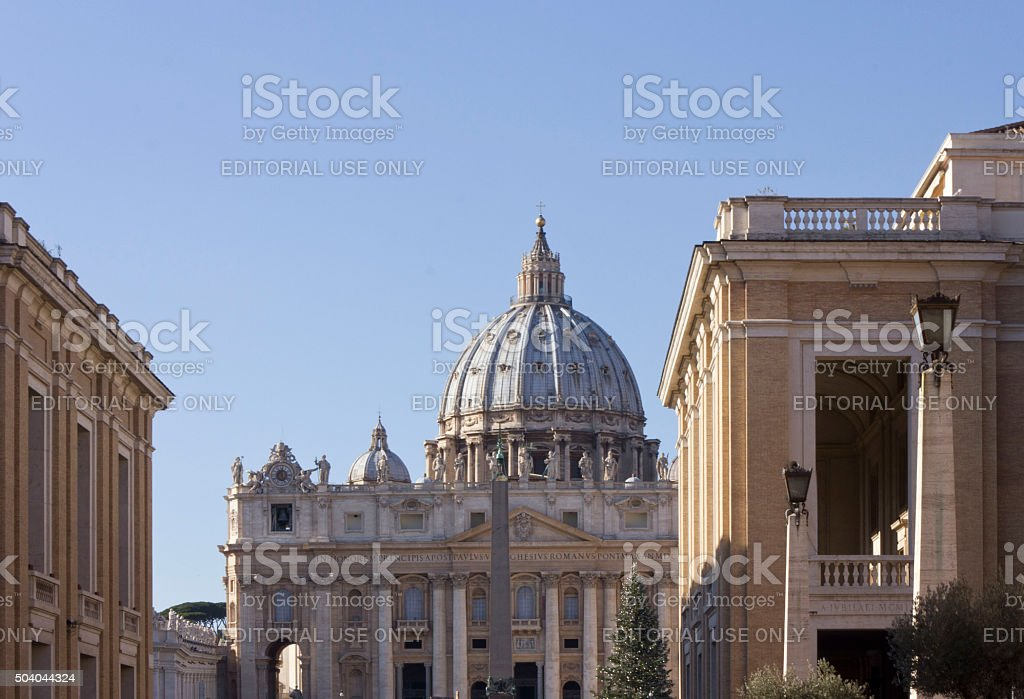 View from Via della Conciliazione of Saint Peter Basilica stock photo