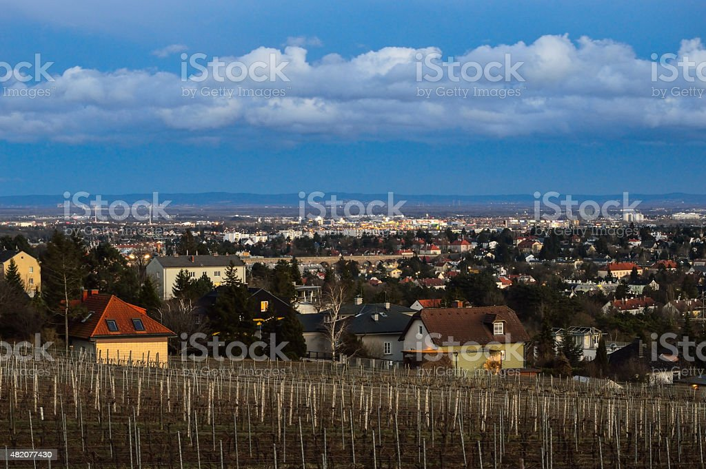 View from Vienna south to the Leithagebirge stock photo