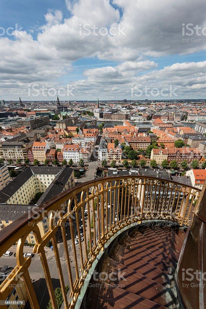 View From Vor Frelsers Kirke in Christianshavn Copenhagen stock photo