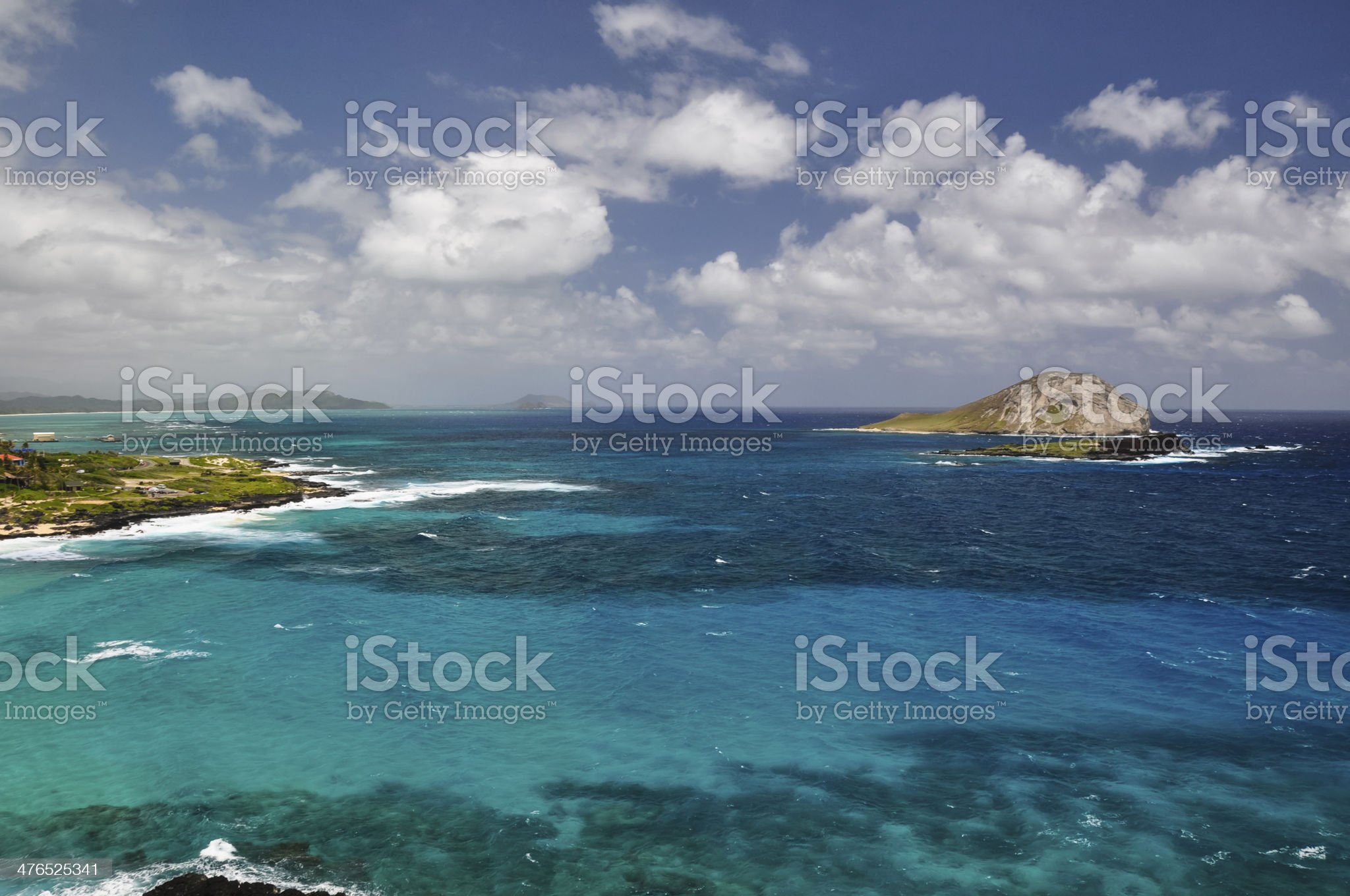 View from Waimanalo Beach Park Lookout - Oahu, Hawaii royalty-free stock photo