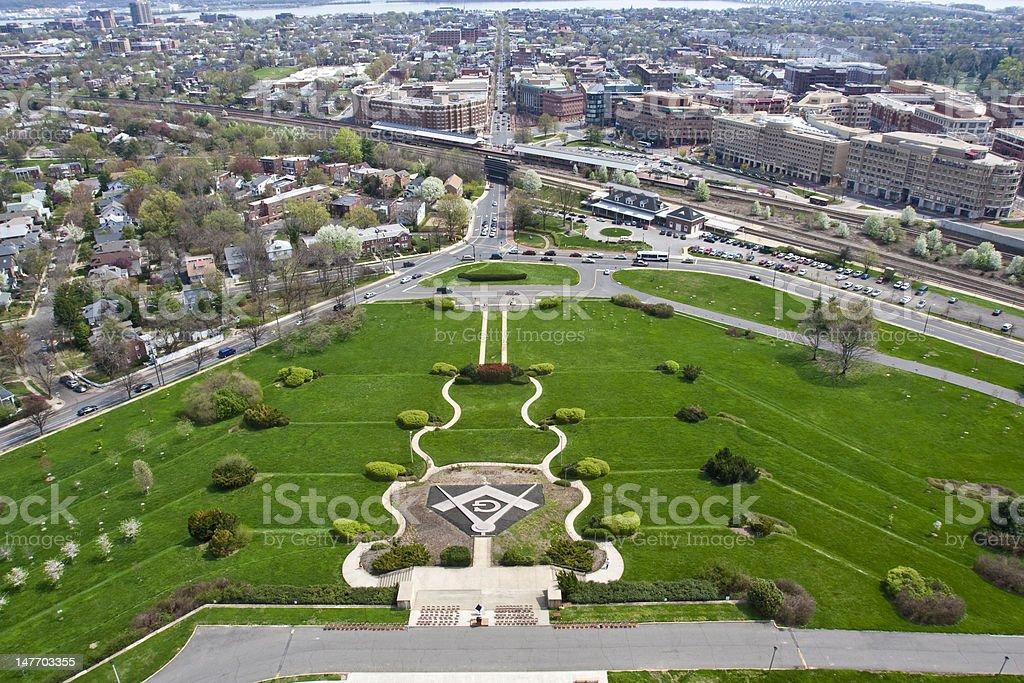 View from Washington Masonic National Memorial in Alexandria, VA stock photo